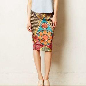 Anthro Pankaj & Nidhi Rambutan Pencil Skirt P3948